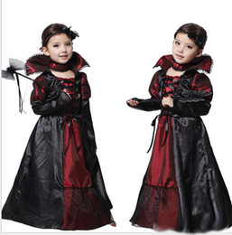 Wholesale Fairy Dress Set - Halloween Girls Costumes Vampire Queen Children Costume Halloween Kids Black Lace Party Dress Necklace Clothing Set