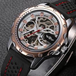 Vencedor automático Mecânica self-Wind esqueleto relógio com homens de luxo gel de sílica Cinta de relógio de aço inoxidável caso vestido de pulso watche cheap skeleton automatic wrist watch de Fornecedores de relógio automático de pulso de esqueleto