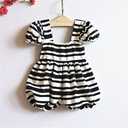 Wholesale Christmas Bloomers Wholesale - New Christmas Kids Girls Striped Lace Jumpsuits 2016 Baby Girls Princess Cotton Rompers Babies Summer Fashion Casual Bloomer