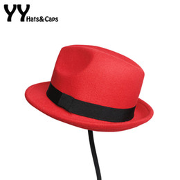 Wholesale Solid Fedora Kids - Kids and adult Wool Felt Snap Brim Hat Trilby Boys Vintage Wool Panama Fedora Girls Solid Felt Jazz Hats Casual Fedora 8 colors YY60526