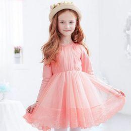 Wholesale Gauze Dresses For Kids - Big girls party dress gauze lace embroidery knee length princess dress for autumn kids hollow lace collar long sleeve dance dress R0044