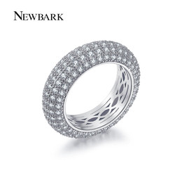 Wholesale Cz Eternity Wedding Band - NEWBARK Hot Wedding Ring 7mm Round CZ Silver Color Luxury Eternity Rings Bands Jewelry for Women q170720