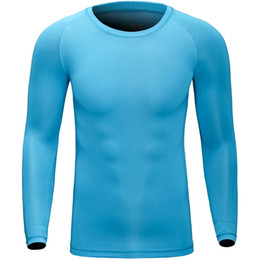 Wholesale Underwear Men S T Shirt - Wholesale-Brand Sport Long Sleeve Underwear Running Outdoor Quick Drying Bottoming T Shirt Basketball Bodybuilding Compression Tights 004