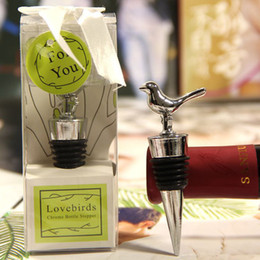 Wholesale Wine Bottle Box Shipping - Love Birds Design Wine Bottle Stoppers Wedding Party Favors With Gift Boxes Guest Gift For Men Free Shipping ZA4364