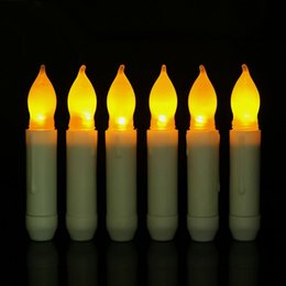 Wholesale Battery Led Nightlight - LED Electronic Candle Fashion Nightlight Long Pole Flameless Smokeless Yellow Light Candles Battery Operated Home Decor 2 56qy F R