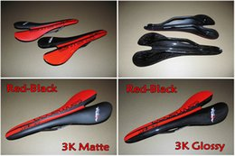 Wholesale Carbon Road Bike Saddle Red - Full carbon fiber Red-Black 3K UD Matte Glossy finish road bike Sanmarco carbon saddle Seat free shipping