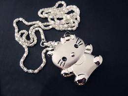 Модные Красивые Симпатичные Серебряные Hello Kitty Cat KT женские кристаллы Девушки Ожерелье смотреть бантом от Поставщики чудо супергероя подарки