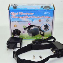 Wholesale Terminator Barking Collar - Rechargeable Waterproof Anti Bark Terminator Advanced no Bark Control Collar Shock Vibra BT-6 Dog Training Collar 20pcs lot