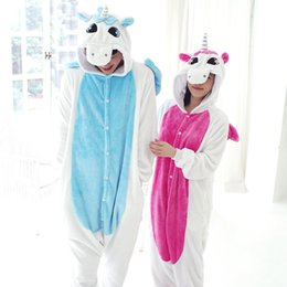 Wholesale female couples costumes - Flannel unicorn conjoined animal cartoon fall and winter long sleeve coral fleece pajamas female male household to couple the toilet