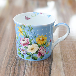 Fiori di porcellana osso online-New Flower Sea Ceramic Mug 350ml Bone China Cup per latte tazza di cereali Tazza di tè Lady Favor Bar forniture DEC057