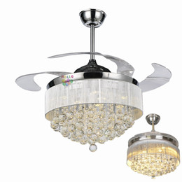 Wholesale Modern Chrome Lamp - 42 36 inch Ceiling Fans Light Invisible Blades Ceiling Fans Modern Fan Lamp Living Room Bedroom Chandeliers Pendant Lamp + Remote Control