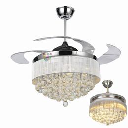 luci di ventilatori moderni Sconti Ventilatori da soffitto da 42/36 pollici Lame a soffitto a luce invisibile Ventilatori moderni Lampada da soggiorno Lampadari da camera da letto Lampada a sospensione + Telecomando