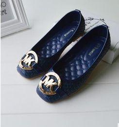 Wholesale Sexy Ladies Heel Shoes - 2017 shoes ladies unit sexy flat heel pointing toe wedding shoes satin PU leather flash flash diamond large size 35-42