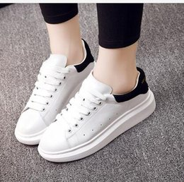 Wholesale Females Soles - white shoe Female genuine leather thick soles 2016 new spring summer casual lace-up plate shoes white sneakers
