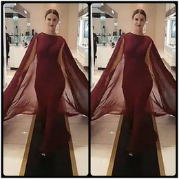 Wholesale Black Triangle Shawl - 2017 Fashion Burgundy Meremaid Evening Gown Dresses with Shawl Chiffon Formal Women Dress Vestido De Festa