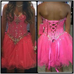 Wholesale Crystal Blue Candy - Cute Candy Pink Short Homecoming Dresses Sweetheart Tulle Lace Up Party Dress 2017 Graduation Dresses