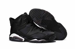 Wholesale Satin Fabric For Men - Drop Shipping Top Quality Retro 6 Black Cat for Men Basketball Sport Shoes Size 41-47 ship with box