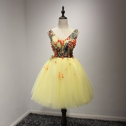 Wholesale Simple Floral Prom Dresses - Real Photos 2017 Cheap In Stock Homecoming Short Prom Dresses Yellow Appliques Floral Cocktail Party Gowns Sexy Sheer TOP