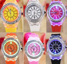 Wholesale Colorful Silicone Watches For Men - Fashion Silicone Diamond Rhinestone Geneva Watch Classic Led Luminous Watch Geneva Colorful Lights For Men Womens Quartz Wristwatch