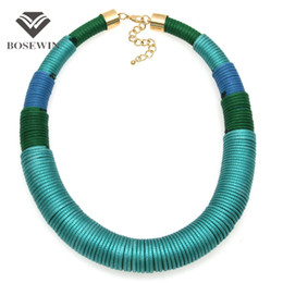 Wholesale New Design Fashion Handmade Simple Yarn Necklace Chunky Chokers Wide Collar Statement Necklaces Big Jewelry CE4113