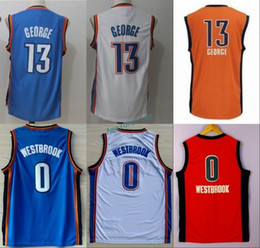 Wholesale Paul George Jersey - New 2017 13 Paul George Jersey Men Blue White Orange UCLA Bruins College 0 Russell Westbrook Jerseys Stitched Top Quality Size S-3XL