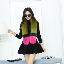 Wholesale Fake Fur Scarfs - 2016 women winter fashion brand fox fur fake collar wool scarf Spell color collars warm scarves have 4 colors