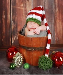 Wholesale Newborn Photography Long Hat - Christmas Hat Handmade Knit Crochet Baby Foot Set Baby Long Tail Striped Hat Newborn Photography Prop