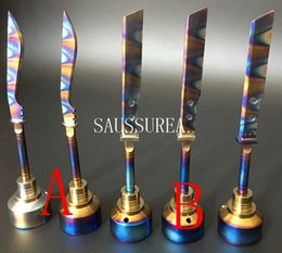 Wholesale Rainbow Smokes - Newest Anodized Colorful Titanium Carb Cap Rainbow Ti Nail dabber 14mm and 18mm for Smoking Water pipe glass Oil Rigs Vaporizer