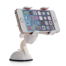 Wholesale Clip Hot Mobile - Wholesale-Newest Hot 360 Degrees Car Mobile Phone Holder Dashboard Mobile Mount Car Kit Double Clips Holder GPS Car Mount 1 Pieces