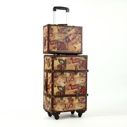 Wholesale Retro Luggage - Wholesale-20 24inch suitcase HardShell PU leather+Wood 4 Wheels A set Travel Trolley Painting Cabin Luggage Retro board chassis lockbox