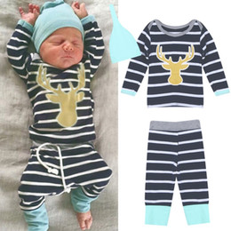e3c0a630b134 Mikrdoo Hot Sale Kids Fashion Suits 3pcs Baby Boy Girl Christmas Sets Newborn  Infant Romper Striped Pants Hat Bodysuits Outfits Clothing Set
