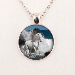 Wholesale Wholesale Carousel Necklace - New Fashion Carousel Horse Necklace Merry Go Round Chain Glass Picture Pendant