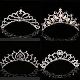 Wholesale Birthday Diamond Tiara - Cute Children tiara crown Wedding Jewelry Flower girl princess crystal rhinestone Tiara Birthday Prom Party Gift