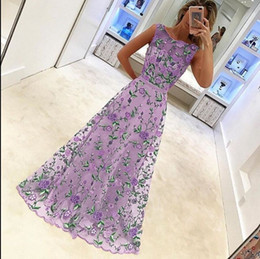 Wholesale Hollow Worked Gowns - hot sale women fashion luxury sleeveless dress formal floor-length female dress elegant flowers embroidery dress free shipping