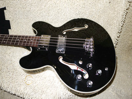 Wholesale China Left Handed Bass Guitars - Guitar Factory Left Handed Bass 4 Strings Bass Black Hollow 335 Bass China guitar New Style