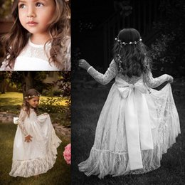 Wholesale Girls Baby Dresses For Wedding - Boho Chic Long Sleeve Flower Girls' Dresses For little Baby Girls 2016 Cheap Lace Sheer Crew Neck Backless Bow Knot Long Bridal Party Gowns