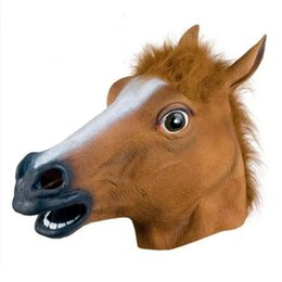 Wholesale Latex Film - Horse Mask Halloween Costume Facial Theater Prop Party Latex Masks Brown Christamas Creepy Fur Mane Latex Full Face Mask Crazy 170817