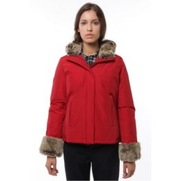 Wholesale Women S Silk Velvet Jackets - Cold winter New Boulder Parka High fur collar Red jacket Fur cuff Fashion coat Warm winter coats jackets women brown black
