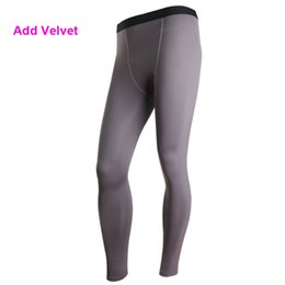 Wholesale Thermal Black Tights - Wholesale-YD29 Plus Size S-XXL Mens Add Velvet Thermal Sports Pant GYM Compression Wear Base Layer Full Pants Tight Skin Under New 2016
