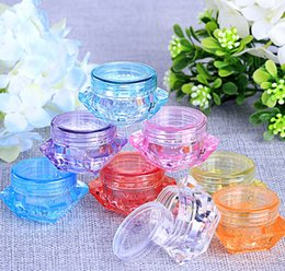 Wholesale 3g Jars - Free shipping 3g 5g New Fashion Mini Portable Empty Cream Jar Pot Sample Cosmetic Container Eyeshadow Makeup sample plastic cosmetic jar