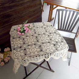 Wholesale Cotton Square Crochet Tablecloth - 100x100 cm square tablecloth, hand crocheted square tablecloth, Vintage square tablecloths for home decorative ad009