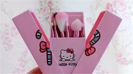 Wholesale Brush Outlet - In Stock Hello Kitty 8 Jian Makeup Brush set professional Makeup tools portable storage box full set of factory outlet DHL Free