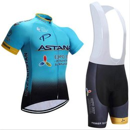 Wholesale Cycling Bib Purple - 2017 Astana cycling jersey and bib shorts kit