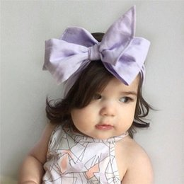 Wholesale Plaid Hair Bows - 2016 Toddlers Plaid Headwear Infant Baby Girl Cotton Bow Headbands Children Princess Spring Summer Hairband Babies Hair Accessories