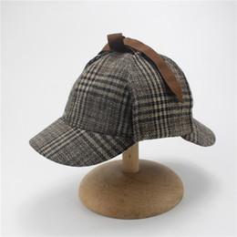 Wholesale church beret hats for women - Berets Caps For Men Winter Woman Cosplay Cap Detective Sherlock Holmes Deerstalker Hat Gray Caps