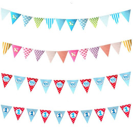 Wholesale Vintage Christmas Garlands - Paperboard Bunting Banner Vintage Wedding Hanging Decoration Cartoon Trojan Triangular Flags Banners party birthday garland 2.3M Christmas