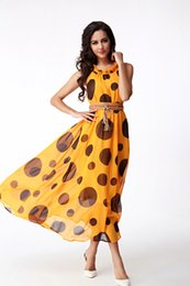 Wholesale Sunmmer Dress - 2016 new sunmmer Wave point chiffon dress posey milan dress women's show thin temperament dress Free of charge belt#204