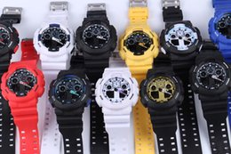 Wholesale plastic buckles for belts - 5pcs lot relogio G100 men's sports watches, LED chronograph wristwatch, military watch, digital watch, good gift for men & boy, dropship