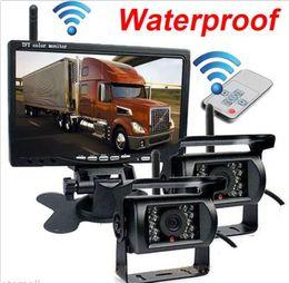 "Wholesale Vision Trucks - 7"" Monitor+2 X Wireless Rear View Backup car Camera Night Vision For RV Truck Bus"