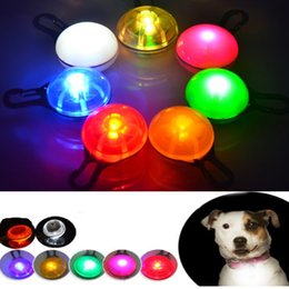 Wholesale Round Push Button Switches - Bright Dog Pet LED Night Safety Flash Light Lamp for Collar, Push Button Switch Battery Included